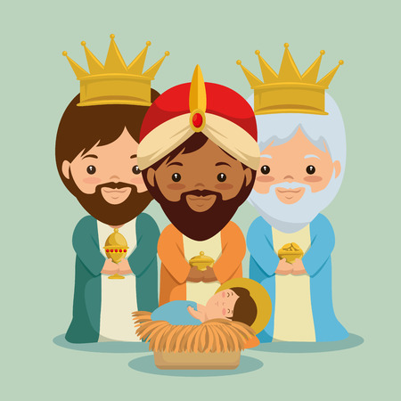 merry christmas three magic and wise kings vector illustration graphic design Ilustrace