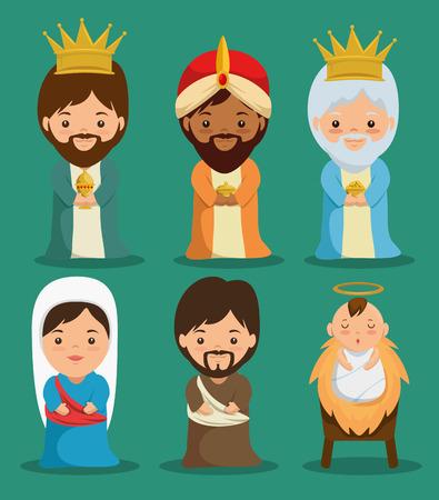 Scène de crèche de Noël joyeux avec la conception de la Sainte famille vector illustration graphique Banque d'images - 89289821