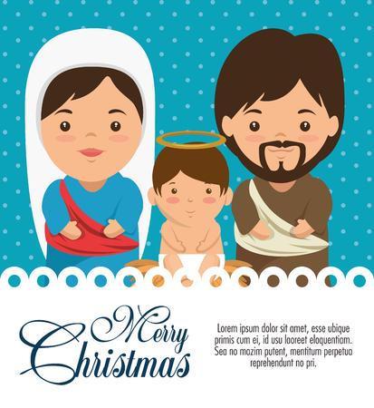 vrolijke Kerstmisgeboorte van christusscène met het heilige grafische ontwerp van de familie vectorillustratie