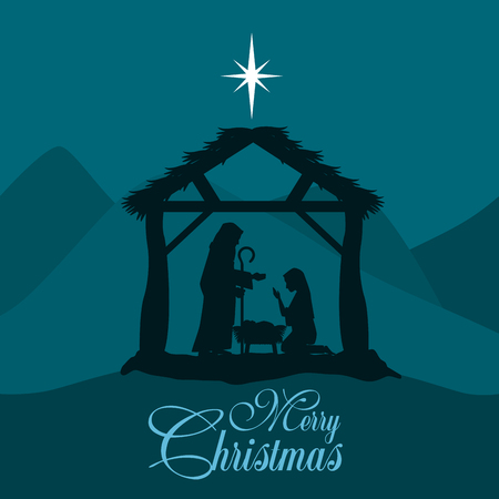 merry christmas nativity scene with holy family vector illustration graphic design