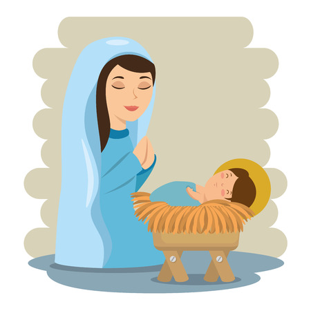 merry christmas baby jesus lying in a manger with maria vector illustration graphic design