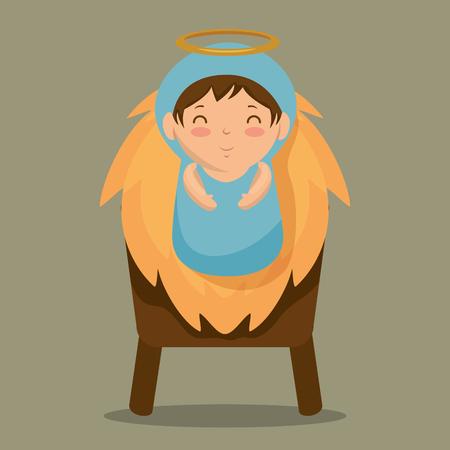 merry christmas baby jesus lying in a manger vector illustration graphic design Illustration