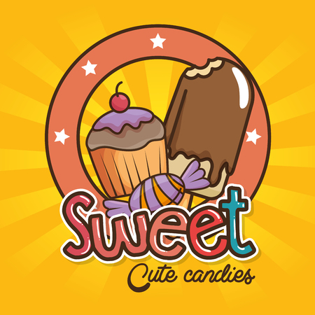 sweets and candies cartoon vector illustration graphic design Illustration