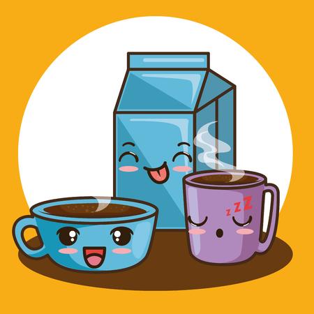 cute breakfast food cartoon vector illustration graphic design