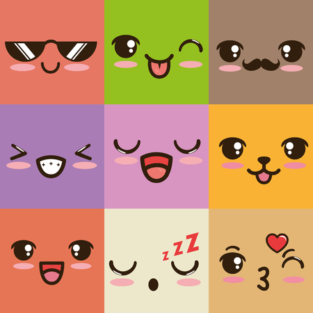 cute emoticon face vector illustration graphic design
