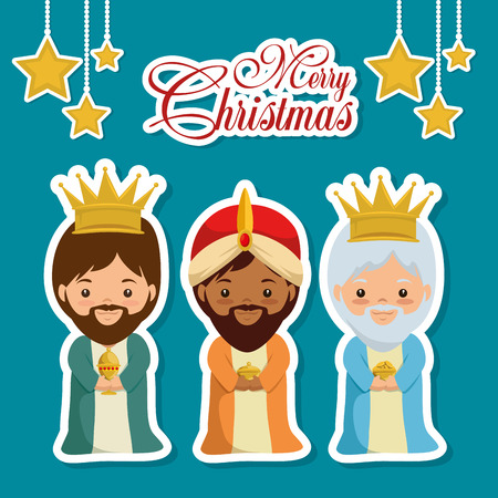 merry christmas three magic and wise kings vector illustration graphic design Illustration