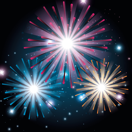 brightly colorful fireworks background vector illustration graphic design