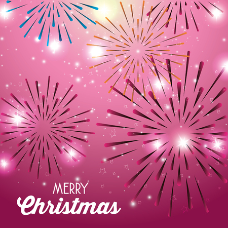 merry christmas sparkling fireworks vector illustration graphic design Illustration