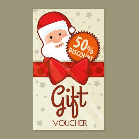 christmas gift voucher gift card vector illustration graphic design Illustration