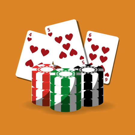 Poker cards and chips gamble fortune vector illustration Çizim