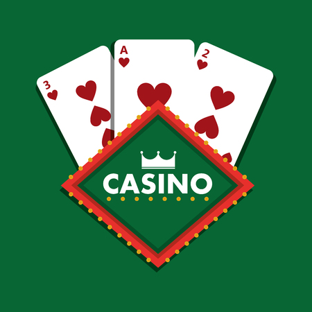 Casino club playing cards green background vector illustration Ilustrace