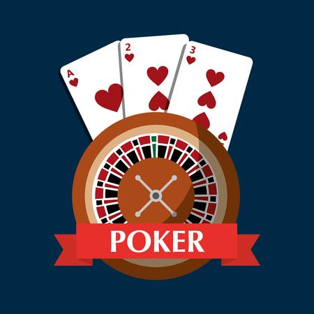 포커 룰렛 카드 도박 위험 배너 벡터 일러스트 레이션