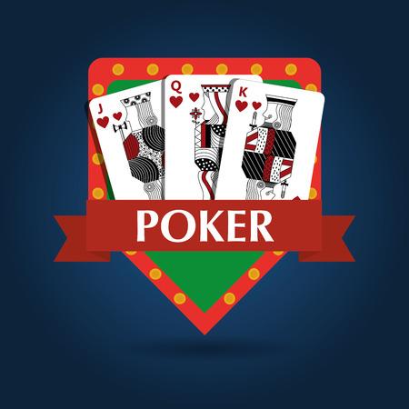 Poker card combination royal game risk emblem vector illustration