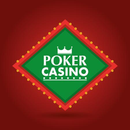 Poker casino banner shining billboard retro vector illustration Ilustração