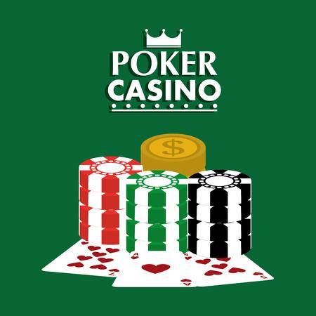 ポーカーカジノクラブカードチップドルゲームコンセプトベクトルイラスト