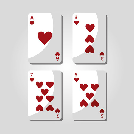 Poker cards hearts playing entertainment vector illustration