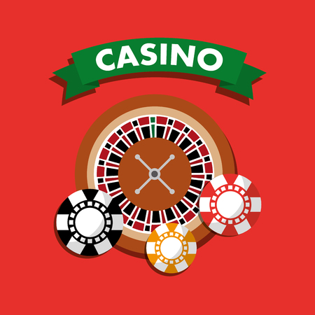 Casino roulette wheel chips gamble symbol vector illustration
