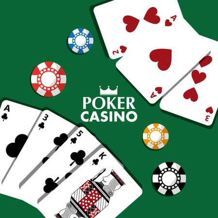 Poker, casino cards and chips vector illustration Banco de Imagens - 89503817