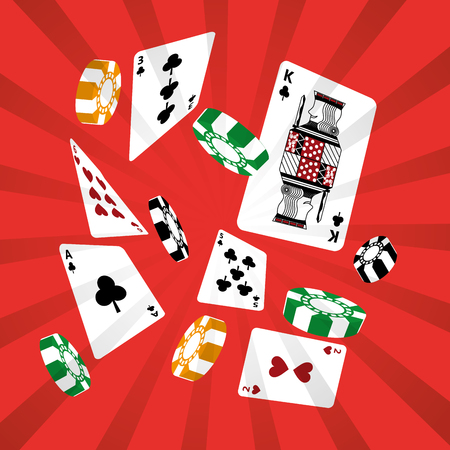 Poker, casino cards and chips vector illustration Banco de Imagens - 89503818