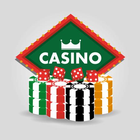 Casino billboard, dice and chips vector illustration