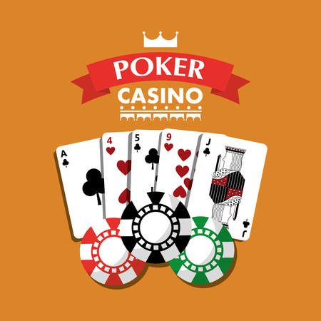 poker casino playing cards combination chips banner vector illustration Illustration