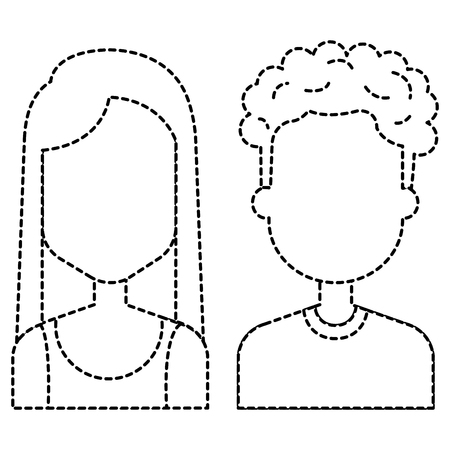 A lovers couple in avatar characters vector line illustration design