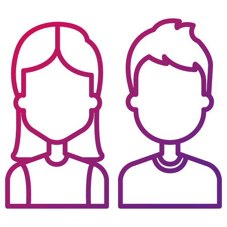 lovers couple avatars characters vector illustration design Çizim