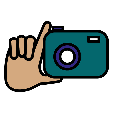 hand with photographic camera isolated icon vector illustration design Çizim