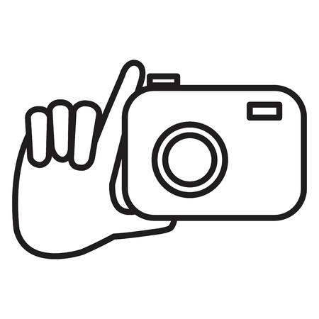 hand with photographic camera isolated icon vector illustration design Ilustração