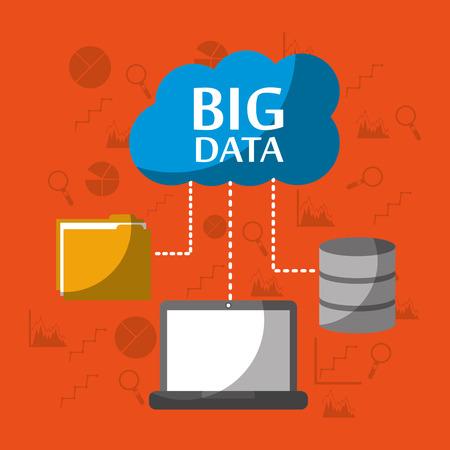 ビッグデータコンピュータラップトップストレージファイルフォルダクラウドベクターイラスト