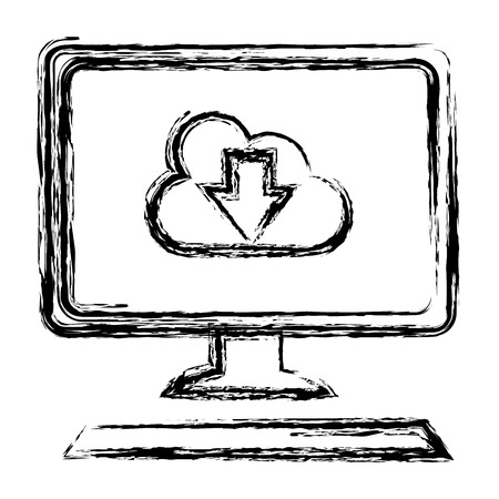 desktop computer with cloud computing vector illustration design Illustration