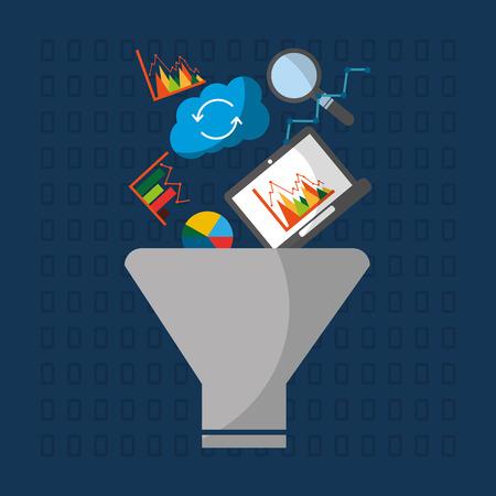 data filter information cloud process vector illustration