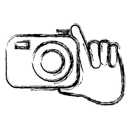hand with photographic camera isolated icon vector illustration design Stok Fotoğraf - 89503890