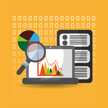 data analysis website finance statistics server vector illustration