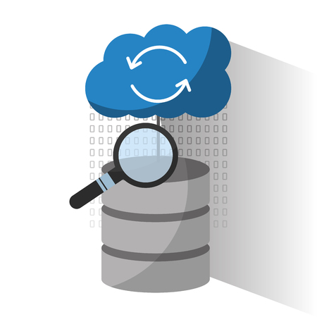 data center server storage cloud search solution analysis vector illustration