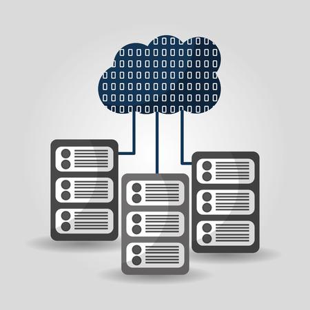 cloud computing data server center process transmitting vector illustration