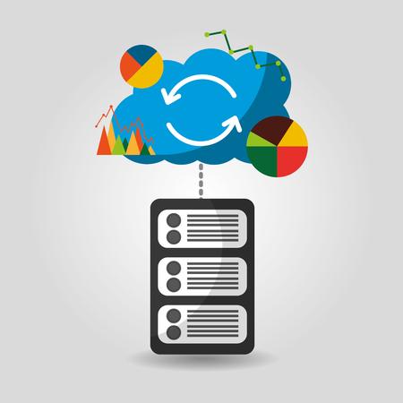 data base center server storage graph chart financial cloud vector illustration