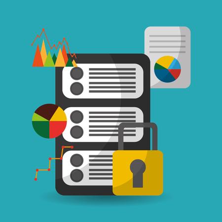 data server security financial information vector illustration