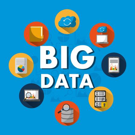 big data server search cloud folder file security vector illustration