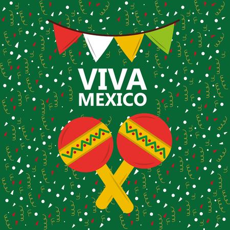 Viva mexico maracas music confetti display. Illustration