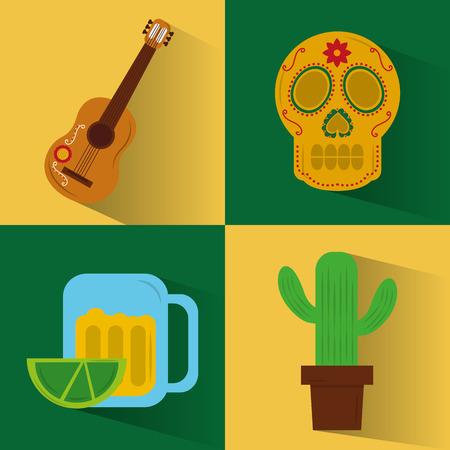 Set of icons viva mexico party celebration, vector illustration.