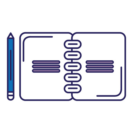 Notebook with pencil icon vector illustration, graphic design.