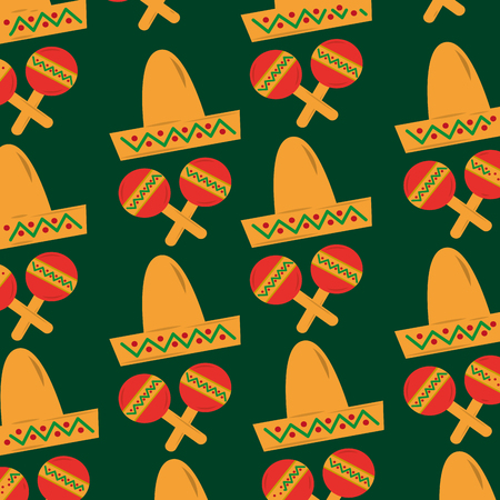 mexican hat and maracas folkore culture vector illustration Ilustração