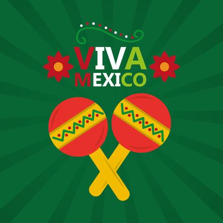 Viva mexico music maracas celebration poster invitation, vector illustration.