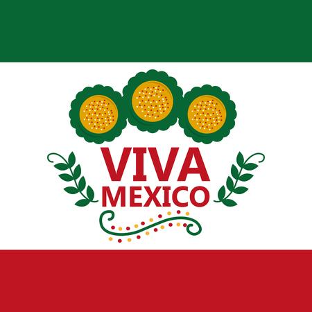 Viva mexico flag Mexican flower celebration, vector illustration.