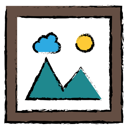 풍경 스냅 숏 격리 된 아이콘 벡터 일러스트 레이 션 디자인