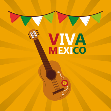 viva mexico guitar garland colors yellow background vector illustration Çizim