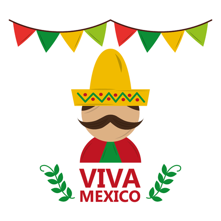 viva mexico man wearing traditional clothes hat and mustache vector illustration