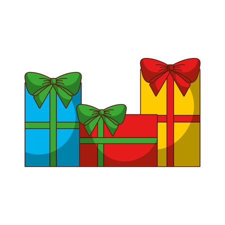 reeks verschillende Kerstmis van giftdozen stelt ontwerp vectorillustratie voor Stock Illustratie