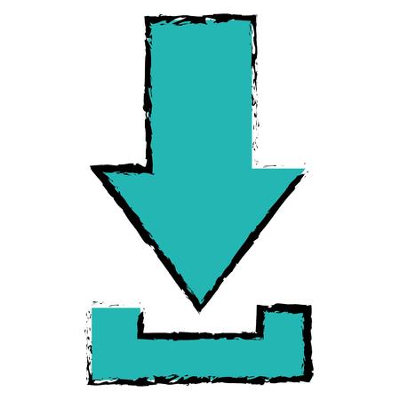 Vectorillustratie van het pijldownload de geïsoleerde pictogram, grafisch ontwerp. Stockfoto - 89509281